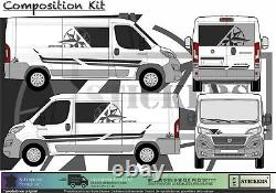 Fiat Ducato Van Camper Camping Bands Compass Self-adhesive Sticker Kit Integral