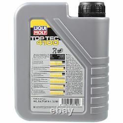 LIQUI MOLY 8L Toptec 4100 5W-40 huile moteur + Mann pour Fiat Ducato Bus 250